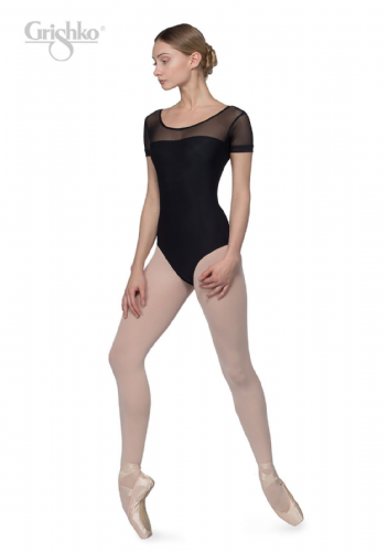 GRISHKO Ladies Dance Leotard Mesh Front Neckline and Sleeves Microfibre Black